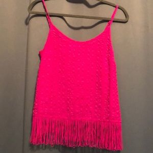 Lilly Pulitzer hot pink finge top Size XS